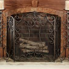 image of country fireplace screen doors