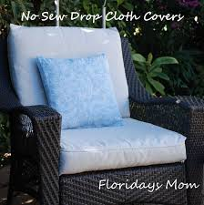 very clever for upgrading patio furniture no sew drop cloth cushion covers
