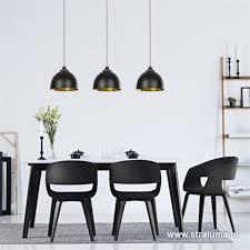 Eettafel Hanglamp 3 Kappen Zwart Goud Straluma