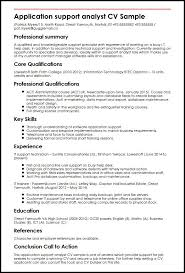 Applicant Resumes Application Support Analyst Cv Sample Myperfectcv