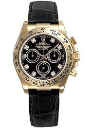 brand rolex collection cosmograph daytona model 116518 dd case material 18k yellow gold case diameter 40 0 mm dial black set with diamonds