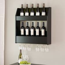 prepac black 2 tier floating wine and liquor rack image 1 of 5