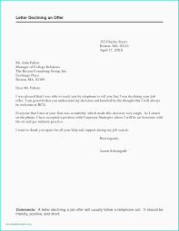 Sample Letter Of Declining A Job Offer Job Offer Rejection Due To Personal Reason Letter For Not