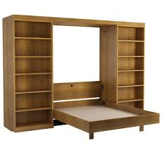 abbott library murphy bed in oak walnut open