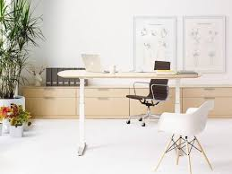 standing office table. An Office Featuring Oval Renew Sit-to-Stand Table, Black Eames Aluminum Standing Table