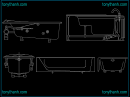 free bathtub cad block elevation view side view top view dwg autocad