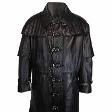 black duster full length sheep leather coat t15 blk