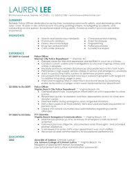 Law Enforcement Resume Objective Interesting New Police Officer Resume Examples Also Download Law Enforcement