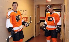 flyers game november philadelphia pa november 01 vincent lecavalier 40 and sean