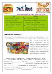 fast food pros cons comprehension and essay pages