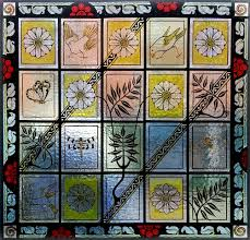 traditionally painted decorative panel leaded panels incorporating etched and painted flashed glass