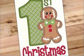 First Christmas Applique Design Gingerbread Boy First Christmas Applique Design 1185