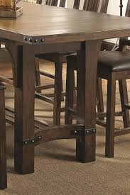 coaster padima rustic rough sawn dining table with extension leaf and dark metal bracket hardware bigfurniture dining tables