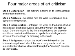 kcc art ch critiquing art  2 four major areas of art criticism