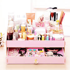 Desktop Storage Box Cosmetic Organizer DIY Makeup Case Wooden Drawer Holder  Pink