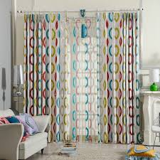 Geometric Pattern Curtains Delectable Blue Yellow And Red Modern Curtains Geometric Pattern