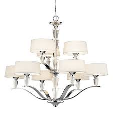 kichler crystal persuasion 37 in 9 light chrome crystal hardwired etched glass tiered chandelier