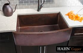 extra large single copper curved farmhouse sink 33x22