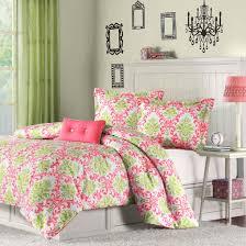white shag rug in bedroom. Modern Chic Bedroom Design With Twin Size Coral Pink White Light Olive Green Damask Comforter Set, Large Shag Rug Under Bed, In