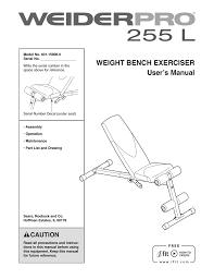 Weider Pro 255 L Bench 15906 Users Manual Manualzz Com