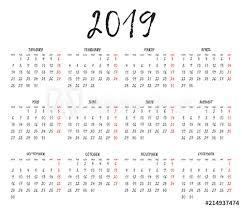 Simple Calendar Grid For 2019 Calendar Template Week Starts Monday