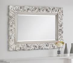 baroque distressed wood effect wall mirror
