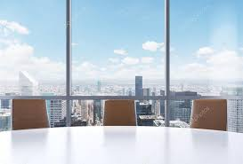 office conference room. Panoramic Conference Room In Modern Office, New York City View From The Windows. Close Office