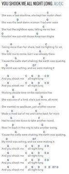 chordie guitar chords chart you shook me all night long ac dc at chordie com guitar