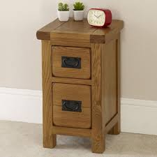 rustic oak slim narrow bedside table