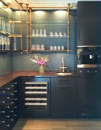 Classic Modern Kitchen Open Concept Kitchen Shelves Brass Pipe Like Shelves Make This A