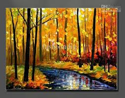 oil painting canvas autumn landscape scenery river yellow home office decoration wall art decor gift forest oil painting oil painting scenery landscape oil