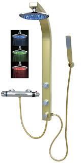 Details Zu Duschpaneel Brausepaneel Duschsäule Led Regendusche Thermostat Armatur In Gold