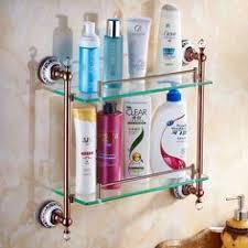 <b>Bathroom Shelves</b> Double Tempered <b>Glass Shelf</b> Solid Brass ...