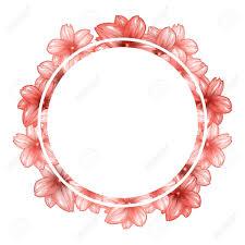 Circle Border Romantic Circle Photo Frame With Pink Cherry Flowers Round Border