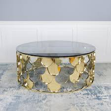 gatsby coffee table gold grey glass top