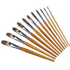 meeden 11 pcs filbert paint brush set nylon hair best brush acrylic oil gouache watercolor painting