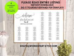 Wedding Seating Chart Poster Board Wedding Seating Chart Template Diy Seating Plan Poster Board Printable Editable Pdf Template Calligraphy Rustic Wedding Instant Download