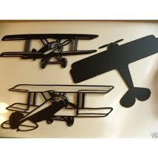 metal airplane wall decor set of three