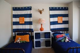 ... Wonderful Blue Curtains For Boy Room : Elegant Boy Bedroom Decoration  With Twin Black Iron Bed ...