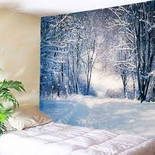 chic forest snow path print tapestry wall hanging decoration