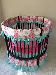 baby girl round crib bedding set pink