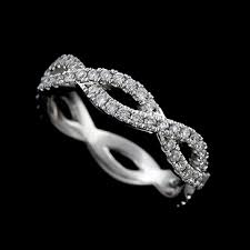 infinity band. diamond 14k white gold infinity intertwining wedding band o