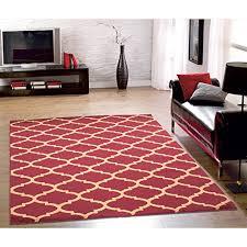 ottomanson royal collection contemporary moroccan trellis design area rug 5 3 x 7 0 dark red
