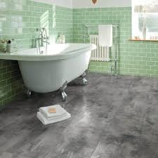 grey metalstone vinyl flooring in bathroom
