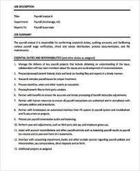 payroll analyst job description example benefits analyst job description