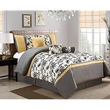 gray and yellow bedding. Modren Yellow 5 Piece Modern Oversize Yellow  Black White Grey Floral Comforter Set  TWIN Size Inside Gray And Bedding