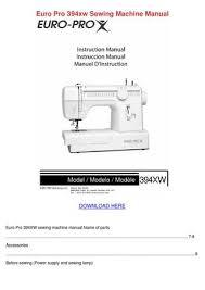 Europro Sewing Machine Manual