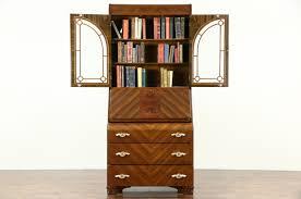 art deco waterfall design 1935 vintage secretary desk bookcase