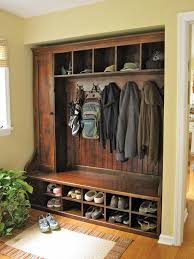 Storage Coat Rack Bench Fascinating Rustic Built In Entry Way Seating Garage In 32 Pinterest