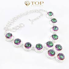 top jewelry mystic topaz necklace vintage silver plated pendants for women best gift n0540